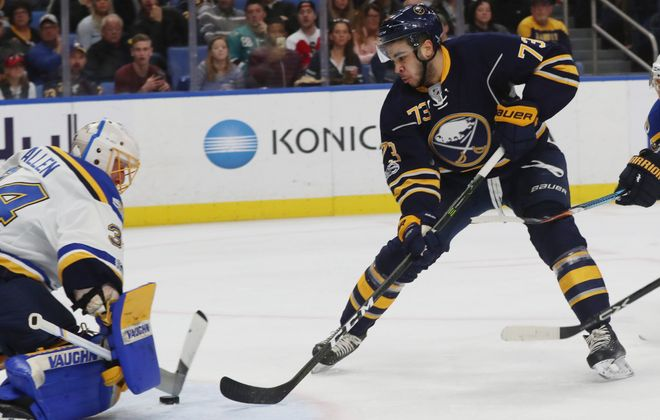 Nick Baptiste played four games for the Sabres this year. (James P. McCoy/Buffalo News)