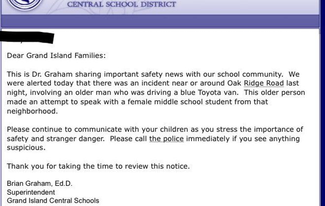 Grand Island School District issues a safety alert