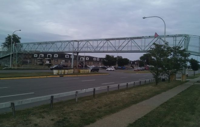 The Sheridan Drive pedestrian bridge in the Town of Tonawanda, closed since 2016 due to deterioration, will be torn down later this month. (News file photo)