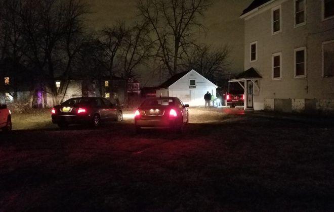 Buffalo police on the scene of a fatal shooting in 100 block of Roma Avenue. (Harold McNeil/Buffalo News)