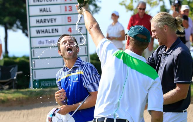 Harrison Endycott celebrates after winning the Porter Cup in 2016. (Harry Scull Jr./Buffalo News)