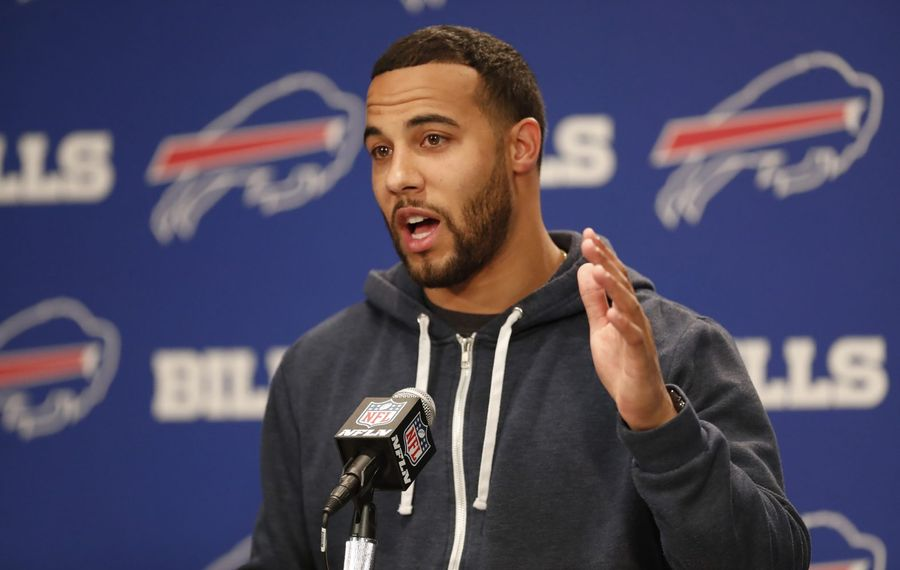 Buffalo Bills safety Micah Hyde speaks to the media. (Harry Scull Jr./Buffalo News)