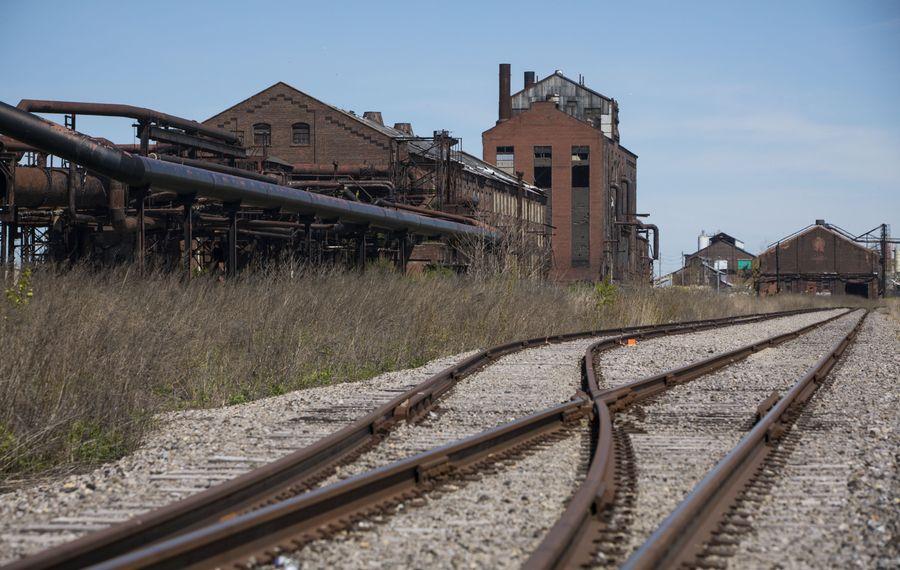 Newly rerouted train tracks on the former Bethelehem Steel site.  (Derek Gee/Buffalo News)