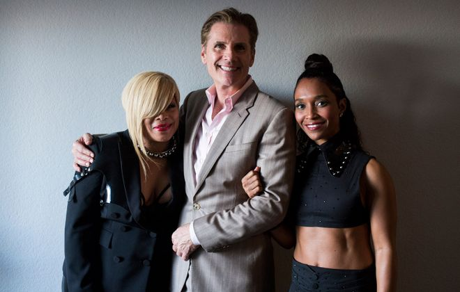 """From left, TLC member Tionne Watkins, manager Bill Diggins, and TLC member Rozonda """"Chilli"""" Thomas take a portrait together after TLC's performance on """"Dancing with the Stars"""" at CBS Television City in Los Angeles, Calif. (Jenna Schoenefeld/Special to The News)"""