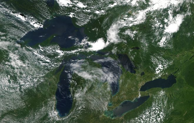 The Great Lakes as seen from space at about 2:15 p.m., Sunday. (National Oceanic and Atmospheric Administration)