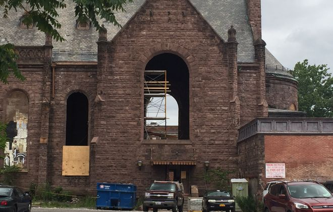 Masonry work underway inside Our Lady of Lourdes Church in preparation for project. (Karen Robinson/Buffalo News)