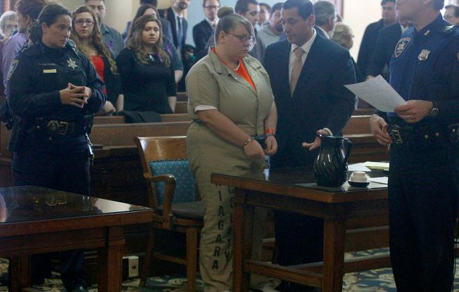 Jennifer Marchant, left, at the time of her conviction of first-degree manslaughter in 2014.    (John Hickey/News file photo)