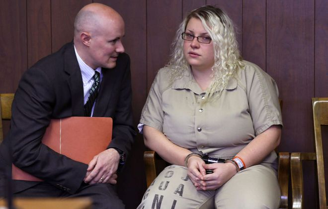 Jennifer Marchant, of North Tonawanda, in court with her attorney, Kevin Mahoney, in 2013. (News file photo)