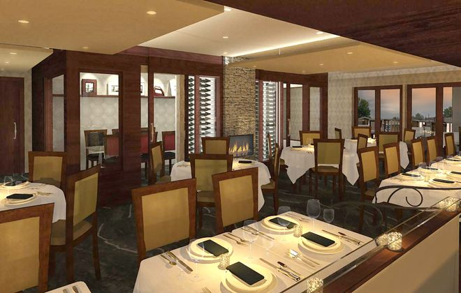 A rendering of the dining room of the new Sinatra's under construction across the street from the current restaurant on Kenmore Avenue.