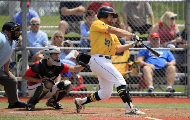 Josh Surowiec belts one of his five home runs for the season for Williamsville North. (Harry Scull Jr./Buffalo News)