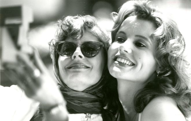 """Susan Sarandon (left) and Geena Davis (right) star as two best friends whose weekend getaway unexpectedly takes them on an adventurous, often humorous race against time in """"Thelma & Louise."""" (News file photo)"""