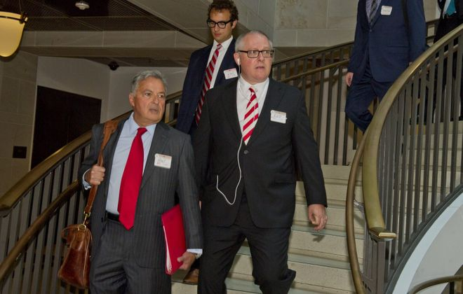 Michael Caputo arrives on Capitol Hill in July prior to his testimony before the U.S. House Permanent Select Committee on Intelligence  in Washington. (Ron Sachs/CNP)