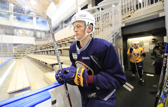 Casey Mittelstadt will be stepping right into the NHL this season. (Harry Scull Jr./News file photo)