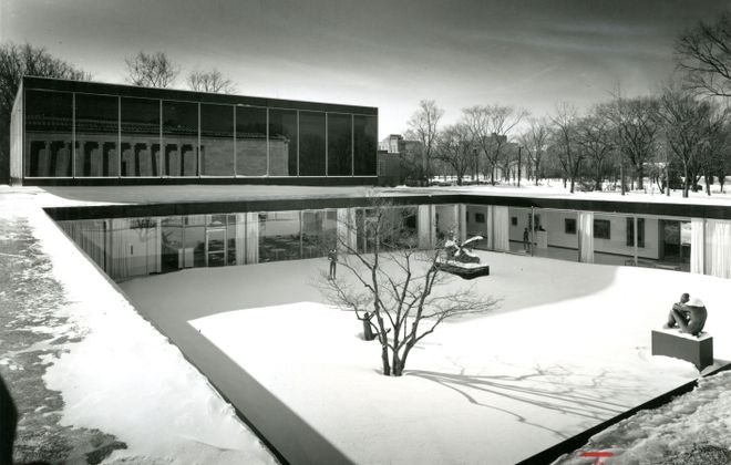 The Albright-Knox Art Gallery's courtyard, designed by Gordon Bunshaft and shown here in a photo from Jan. 19, 1962, is slated to be reconfigured in the gallery's planned expansion. (News file photo)