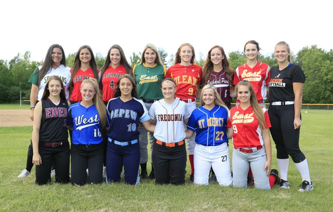 The All-Western New York softball first team. Front row, L-R, Molly Breier (Eden), Abby Borkowski (Kenmore West), Karsen Cotton (Depew), Hannah Cybart (Fredonia), Laura Gregory (Mount Mercy), Christy Mack (Williamsville East). Back Row, L-R, Emily Nicosia (Williamsville North), Kara Paradowski (Lancaster), Jenna Patterson (Lancaster), Anilese Kelly (West Seneca East), Alyssa Ramarge (Olean), Madison Stewart (Orchard Park), Rachel Steffan (WIlliamsville East), Abby Stone (Akron). (Harry Scull Jr./Buffalo News)