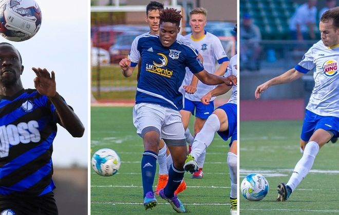 Baye Ibra Kebe of Dayton, left, Akean Shackleford of FC Buffalo, center, and Luca Campos of Erie, right, have all made BN Soccer's end-of-season Best XI. (Harry Scull Jr./Buffalo News; Don Nieman/Special to The News, two photos)