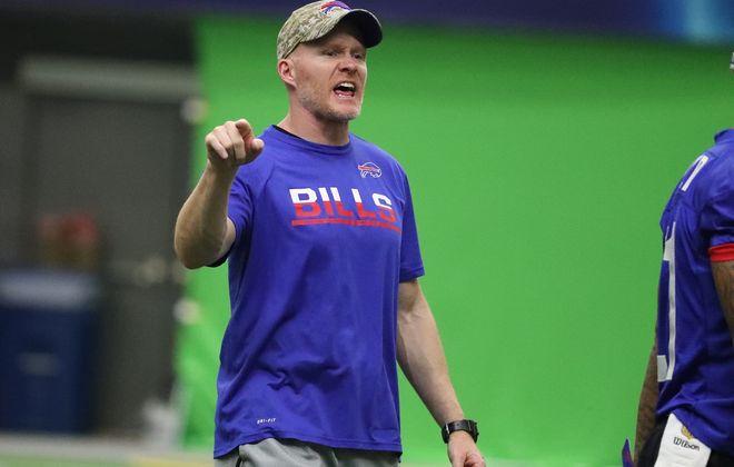 Buffalo Bills head coach Sean McDermott runs practice at ADPRO Sports Training Center prior to his first season.  (James P. McCoy/Buffalo News)