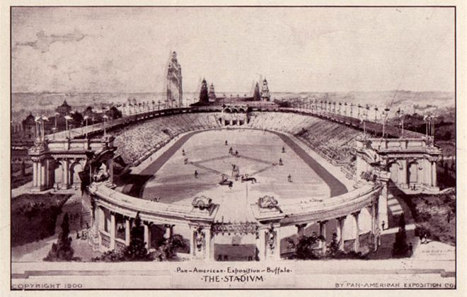 The Stadium, which hosted sports, livestock shows, automobiles and farm machinery demonstrations. (Photo courtesy of the Library of Congress)