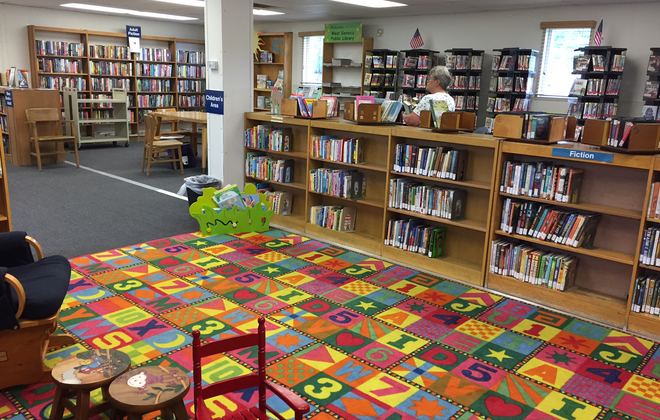 The temporary West Seneca Public Library on Legion Parkway contains  fewer books, but all the services of a full library.