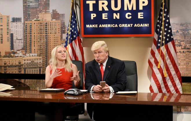 """Saturday Night Live"" earned 22 Emmy nominations includes ones for Kate McKinnon(pictured  as Kellyanne Conway) and Alec Baldwin (as Donald Trump). (Will Heath, NBC)"
