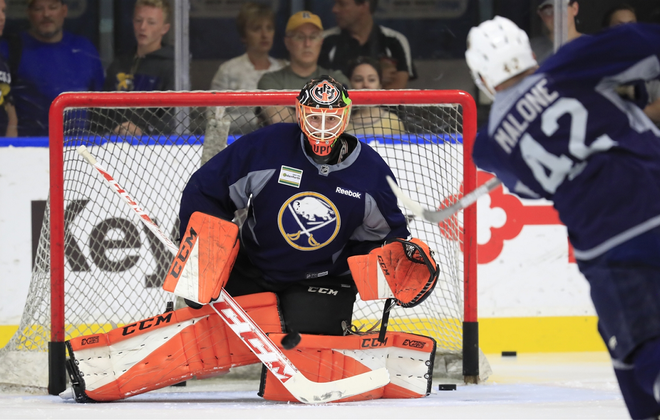 Ukko-Pekka Luukkonen in his first Sabres development camp. (Harry Scull Jr./Buffalo News)