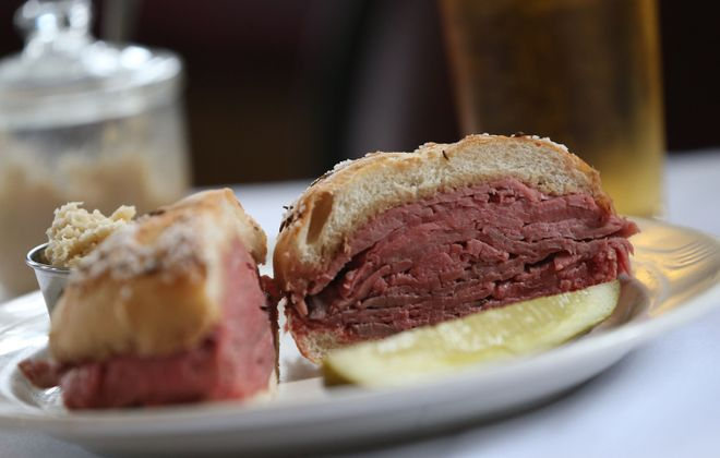 Eckl's classic roast beef on kummelweck is made with certified angus beef. (Sharon Cantillon/Buffalo News)