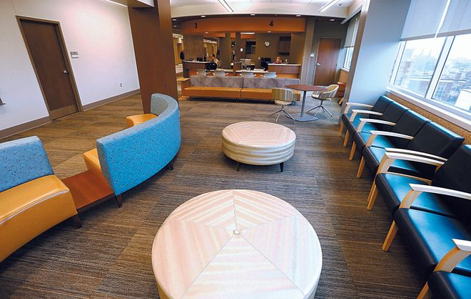 UBMD waiting and admission area for  the new pediatric clinics that will be opening within Conventus at UBMD Pediatrics Outpatient Center, in Buffalo, N.Y. on  Thursday March 30, 2017. (John Hickey/Buffalo News)