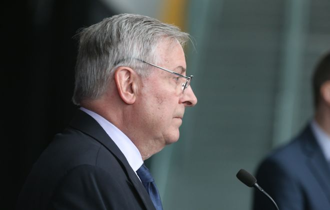 Terry Pegula would only address the Sabres issues and not the Bills during his press conference today at Key Bank Center Buffalo N.Y. on Friday, April 21, 2017.  (James P. McCoy/Buffalo News)