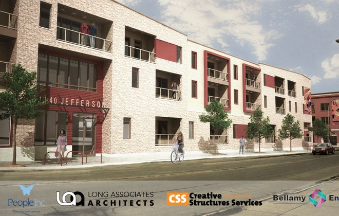 A rendering of a proposed People Inc. building on Jefferson Avenue.