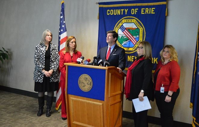 County Executive Poloncarz held a press conference on National Pay Equity Day to highlight the pay gap between women and men. (Sandra Tan/Buffalo News)