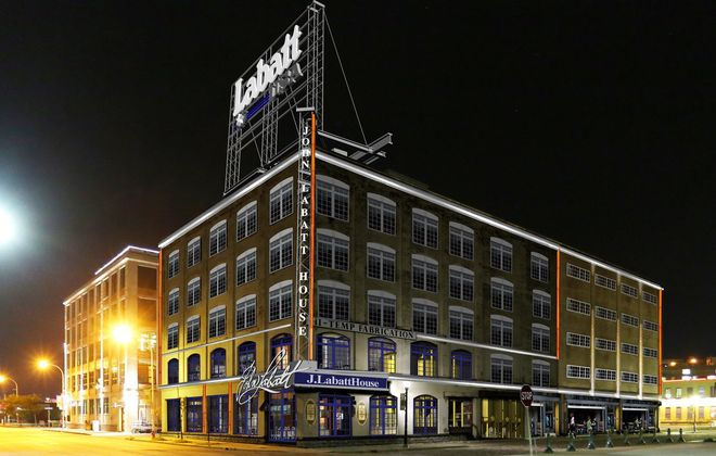 A rendering depicts the Labatt restaurant and brewery planned for 79 Perry St. in the Cobblestone District.
