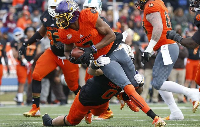 Bills rookie receiver Zay Jones catching a pass during the Senior Bowl. (Getty Images)