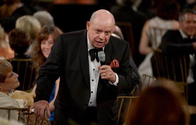 Comedian Don Rickles speaks at the 40th AFI Life Achievement Award honoring Shirley MacLaine in 2012. The comedian died Thursday at the age of 90. (Kevin Winter/Getty Images for AFI)