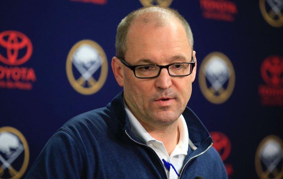 Dan Bylsma talks to reporters Monday (Harry Scull Jr./Buffalo News).