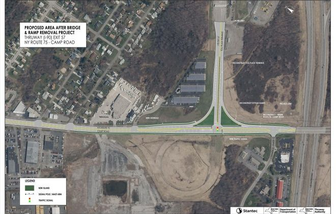 The bridge from Thruway Exit 57 over Camp Road would be replaced with a  new T-intersection. (Courtesy New York State Thruway)