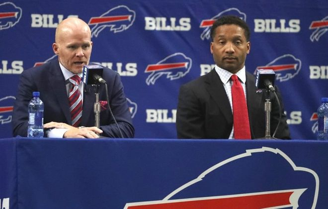 Bills coach Sean McDermott, left, and GM Doug Whaley were seated next to each other at McDermott's introductory press conference. (John Hickey/Buffalo News)