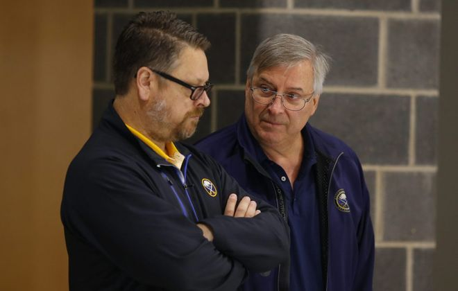 Tim Murray, left, and Terry Pegula have an important conversation coming up about the Sabres' future (Harry Scull Jr./Buffalo News file photo).
