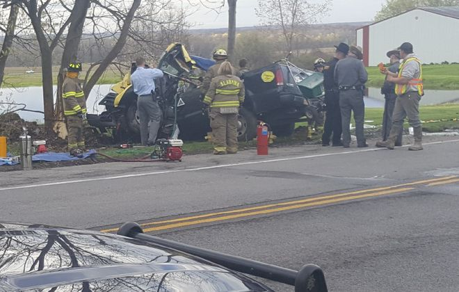 A crash on Tuesday afternoon killed a 19-year-old Albion man. (State Police)