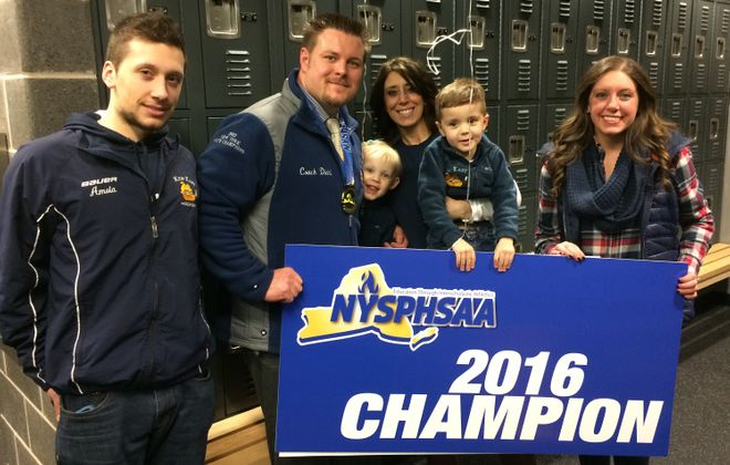 Thomas Diehl Sr.'s family celebrates his 2016 state hockey championship, from left, Tony, Thomas, Teagan, Dawn , T.J. and Summer.