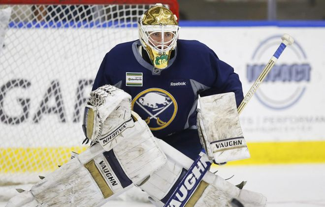 Goalie Cal Petersen can lean on Jack Eichel for advice, the Sabres center said Wednesday. (Harry Scull Jr./Buffalo News file photo)