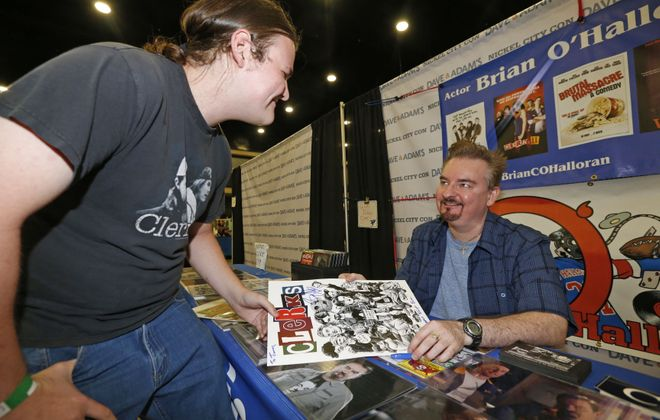 """Conventions like Nickel City Con allows fans to meet their favorite celebrities. At the 2016 convention, fan James McAllen met actor Brian O'Halloran, who starred in the """"Clerks"""" movies.  (Robert Kirkham/Buffalo News file photo)"""