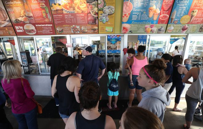 With the warm weather returning, so are the lines at Anderson's Frozen Custard. Pictured is the location at 2235 Sheridan Dr. in the Town of Tonawanda was built in 1953.  It's the oldest of the seven locations in the area which makes it the sentimental favorite.  (Sharon Cantillon/Buffalo News)