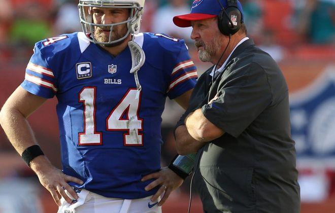 Former Bills coach Chan Gailey and quarterback Ryan Fitzpatrick. (James P. McCoy/News file photo)