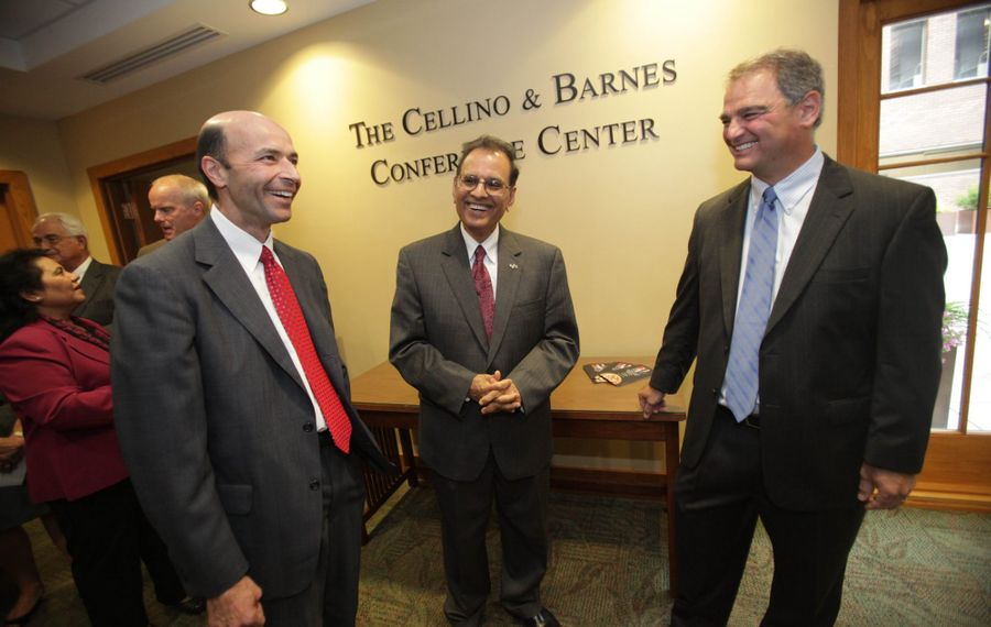 Steve Barnes and Ross Cellino Jr., shown here in happier times when the Cellino and Barnes Conference Center was unveiled at UB Law School in 2011. (Sharon Cantillon/News file photo)