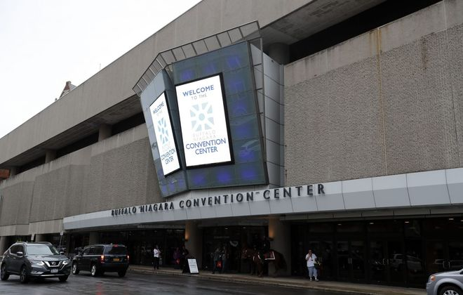 The Buffalo Niagara Convention Center on Franklin Street has been described as a bunker. (Mark Mulville/Buffalo News)