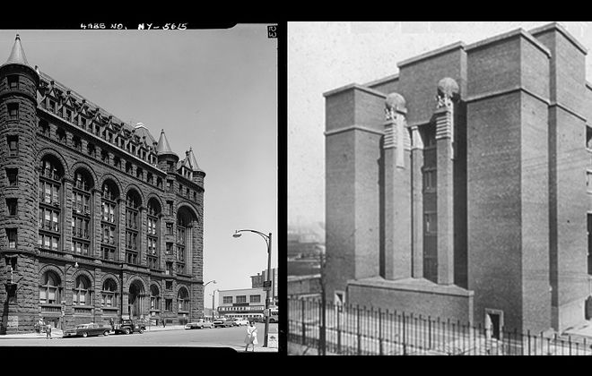 The Erie County Savings Bank, left, and the Larkin Administration Building were both demolished during the middle of the 20th century. Which building do you wish were still standing today? Be sure to take our poll. (Bank photo courtesy of the Library of Congress; Larkin photo from Buffalo News archives)