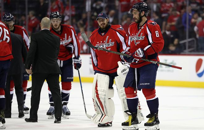 A stunned Alex Ovechkin (8) leaves the ice after another playoff failure by the Capitals in Game Seven Wednesday against the Penguins (Getty Images).