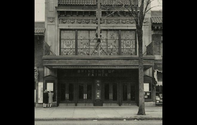 """This photograph of the North Park Theatre likely dates from March 1928, when """"Bringing Up Father,"""" a silent film based upon a comic strip, was released. (Photo courtesy of the North Park Theatre)"""