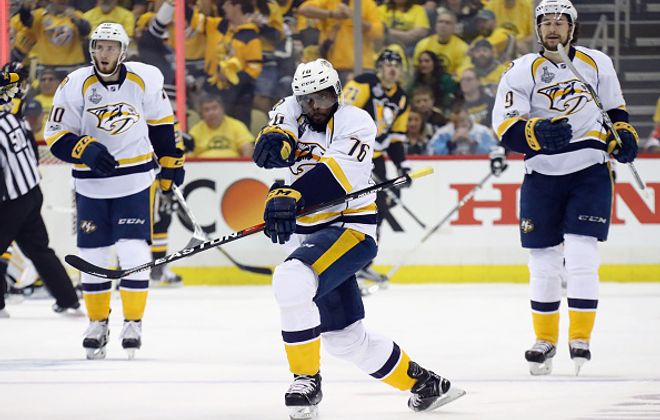P.K. Subban's celebration was at full throttle in Game One but his goal was wiped out by an offside challenge (Getty Images).