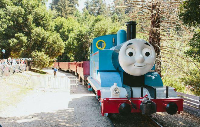 Mavericks the Tank Engine, rolling along ... (Photo courtesy Mattel.)